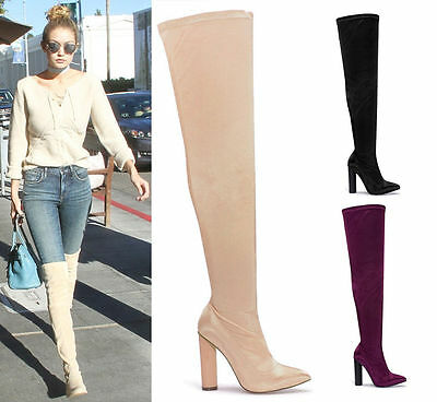 Ladies Womens Satin Lycra Thigh Block High Heel Stretch Over The Knee Boots Size
