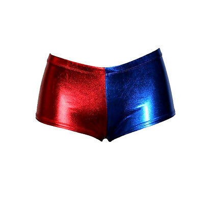 Womens Harley Quinn Metallic Shorts Ladies Red Blue Hot Pants Knickers Costume