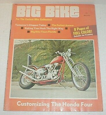 BIG BIKE Magazine 1970 May vtg   Choppers Custom Motorcycle 8 full color pages