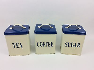 VINTAGE STYLE BLUE WHITE METAL SHABBY CHIC Tea Coffee Sugar Tins - KITCHENALIA