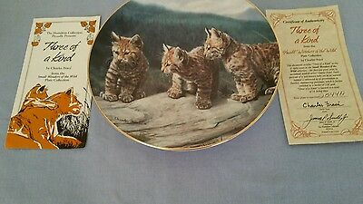 """Hamilton Collection by Charles Frace - Three of a Kind 8.5"""" Plate 32044A w/certi"""