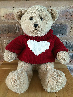 "Beautiful Harrods 16"" Jointless White Heart Teddy Bear"