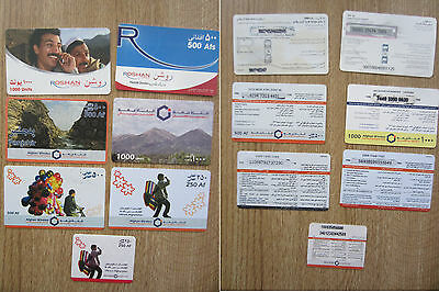 LOTTO AFGHANISTAN - 7 pz SCHEDE TELEFONICHE USATE ESTERO USED PHONE CARDS