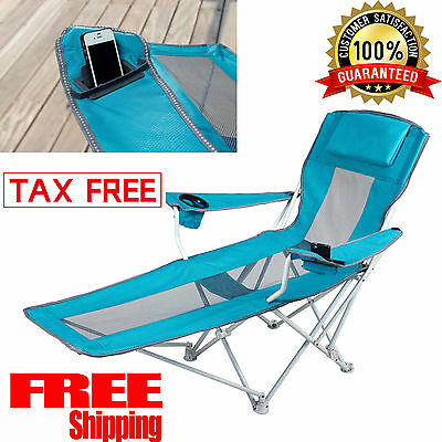 Reclining Folding Camping Chair With Footrest Stool Beach Chaise Outdoor  Lounger