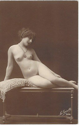 1920 French NUDE Photograph - Full Frontal & Youthful wearing Necklace