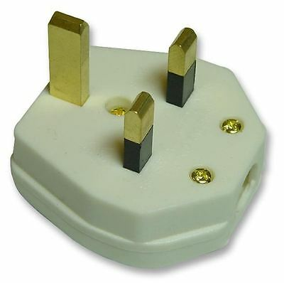 PRO ELEC - 13A UK Mains Plug, 3A Fuse, White (Box of 20)