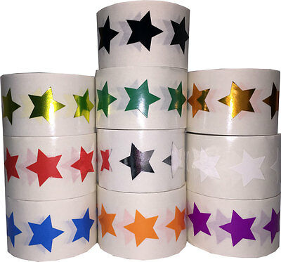 Star Shaped Stickers, 3/4 Inch Wide Labels, 500 on a Roll, 17 Color Choices