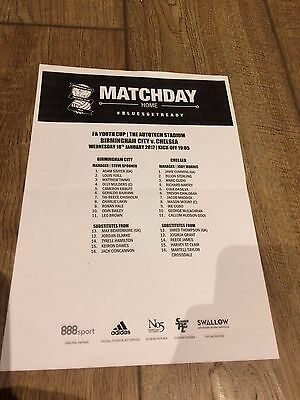 Birmingham City V Chelsea- 18 January 2017- Official Teamsheet- Fa Youth Cup