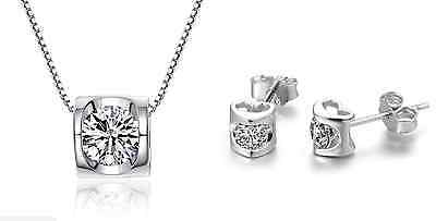 925 Sterling Silver 2.0 Cts Cubic Zirconia *Heart* Jewelry Set: Necklace&Earring