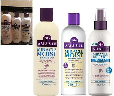 Aussie MIRACLE MOIST Gift Set SHAMPOO CONDITIONER & LEAVE IN CONDITIONING SPRAY