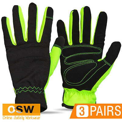 3 X Hi Vis Yellow/black Flexible Breathable Foam Padded Riggers Work Gloves
