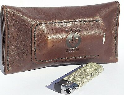 Leather tobacco pouch handmade soft brown cigarette case holds 50 grams