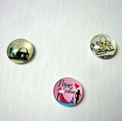 3 Glass High-Heel Cabochon Needle Minders, Cross Stitch, Embroidery  Lot A