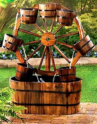 "Unique Country Charm ** 33"" RUSTIC WAGON WHEEL & 7 BUCKETS WATER FOUNTAIN ** NIB"
