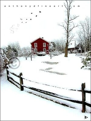 "ORIGINAL ACEO PAINTING ""RED WINTER HOUSE"" SNOWY PRINT By Anthony D"