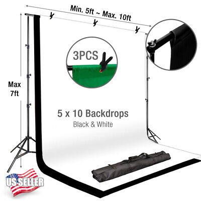 "86"" Background Photography Stand Photo Studio Black White Backdrop Muslin Kit"
