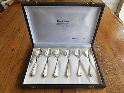 Set x 6 Italian 800 Silver Spoons in box approx 66g of silver teaspoons