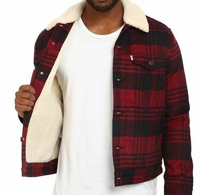 6ff1bd89001 Levi s Wool Blend Sherpa Lined Tibetan Buffalo Plaid Trucker Jacket Men s  Coat