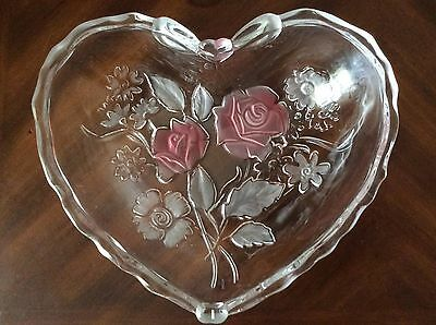 Mikasa Crystal Heart Shaped Serving Platter Tray Candy Dish Frosted Pink Roses