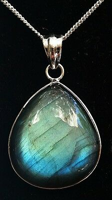 Stunning Blue Labradorite Handcrafted .925 Solid Sterling Silver Pendant (2087)