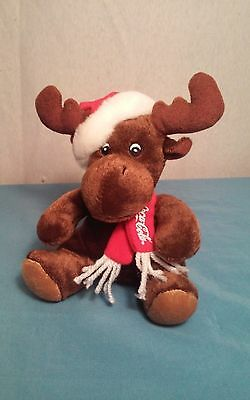 Coca Cola 2008 Christmas Moose Wearing A Red Scarf n Santa Hat Plush doll 5 1/2""