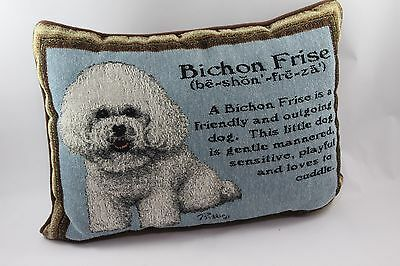 "Bichon Frise Tapestry Pillow by Linda Picken 16"" x 12"""