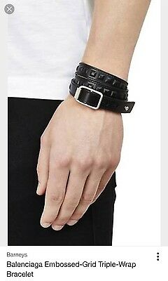 Balenciaga Unisex  Studded Leather Wrap Bracelet In Pristine Condition