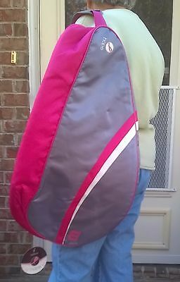 Wilson Tennis Bag Racket Women Holds 3 Storage Shoulder Strap Case Hope Pink Gra