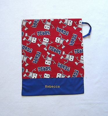 Free Name Red Robot (Blue Bag) Personalised Embroidery Library Bag (Ff)
