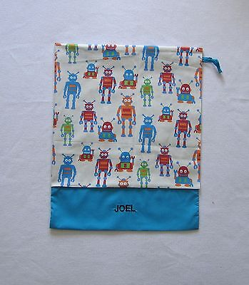 Free Name Lots Of Robots Design (Light Blue) Personalised Library Bag (Ff)
