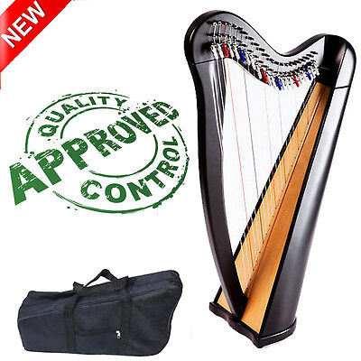 Beechwood 22 string harp with semitone levers in black