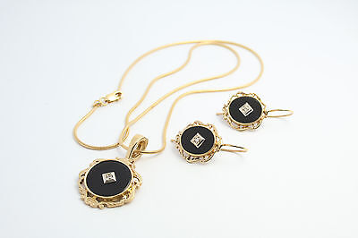 9ct Gold Black Onyx & Diamond Earrings and Necklace