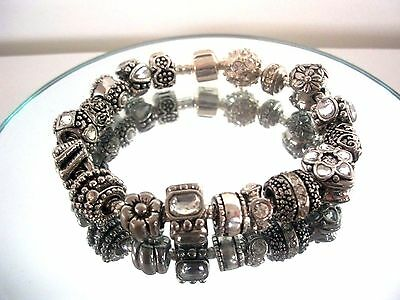 Exquisite Sterling Silver Beaded Charm Bracelet ~ Heavy 83 Grams ~ Sterling 925