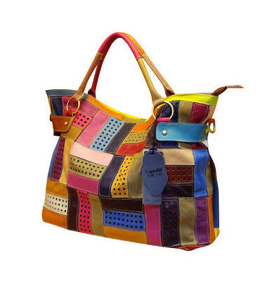 Genuine Natural Leather Patchwork Handbags Women
