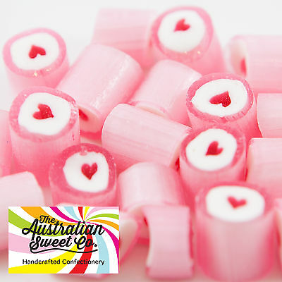 Pink Heart Rock Candy Bulk Lollies Wedding Favours Birthday Party Valentine