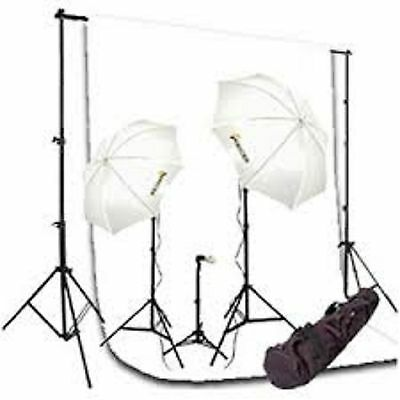 600 Watt continuous lighting kit with 7x10 backdrop stand and 6x9 White backdrop