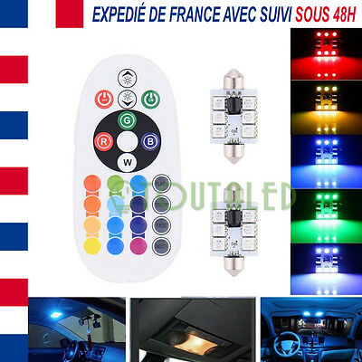 2X Ampoule Lampe Navette C10W 42Mm 12V 6 Led 5050 Rgb + Telecommande Tuning Rvb