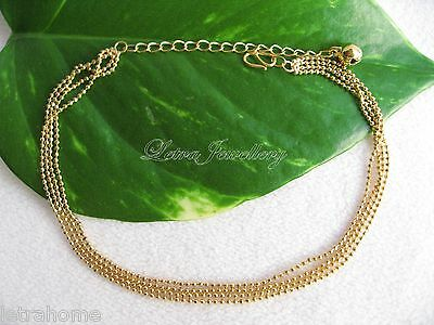 18K Gold Plated Polished Cluster Yellow Ball Bell Chain Anklets Gift Present