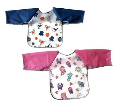 Long Sleeve Baby Waterproof Bib Coverall Kids Art Crafts Paint Baking Play Apron