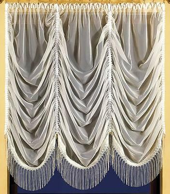 Beautiful Voile Cream And  White Net Curtains - Waves Superb For Small Windows