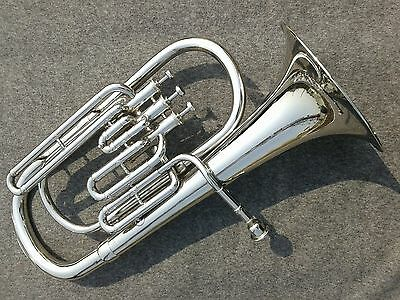 Horn Baritone Chrome Polish W/free Case Box & Mouthpiece Made Of Pure Brass