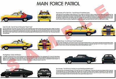 Mad Max MFP movie car posters Ford Falcon GT hardtop Holden Monaro GTS coupe