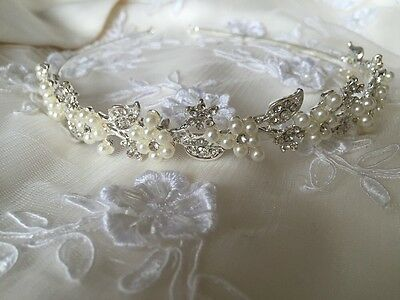 Diamanté Ivory Pearl Headband bridesmaid Wedding Bridal Hair Accessories