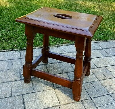VINTAGE Jacobean Style WALNUT BENCH STOOL SIDE ACCENT TABLE