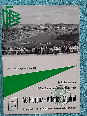 1962 - CUP WINNERS CUP FINAL REPLAY PROGRAMME - FIORENTINA v ATHLETICO MADRID