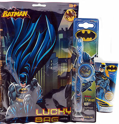 Batman 3 Piece Bathroom Gift Set - Toothpaste, Toothbrush, And Lucky Bag