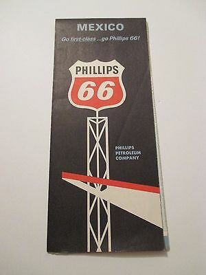 Vintage 1960's PHILLIPS 66 MEXICO Oil Gas Service Station Road Map