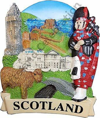 Scotland Fridge Magnet - Highland Cow, Piper, Bridge Souvenir Gift