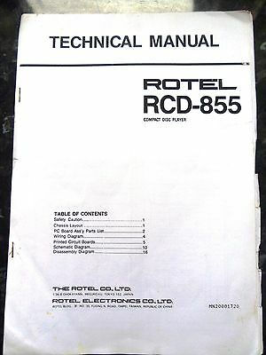 ROTEL TECHNICAL (service) MANUAL for RCD-855 Compact Disc / CD Player