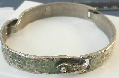 Signed Hobe Segment Bangle Bracelet Hammered Silver Metal Vintage Jewelry